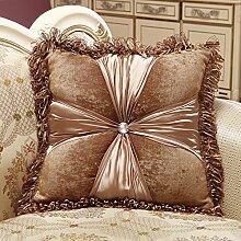 Das Bett Sofa Kissen Kissen Sitzkissen Haushalt Büro taille Kissen, fester Kern, 50x50cm, Dunkelbraun
