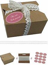 das-label | 10 x Geschenkboxen aus braunen Kraftkarton mit altrosa-creme Aufkleber 10 x MIT VIEL LIEBE GEMACHT!! + Häkelspitze | Naturboxen als Geschenkverpackung oder Transportbox für Kuchen | Cupcakes | Pralinen | Kekse und viel mehr