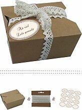 das-label | 10 x Geschenkboxen aus braunen Kraftkarton mit creme-dunkelrot Aufkleber 10 x MIT VIEL LIEBE GEMACHT!! + Häkelspitze | Naturboxen als Geschenkverpackung oder Transportbox für Kuchen | Cupcakes | Pralinen | Kekse und viel mehr