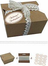 das-label | 10 x Geschenkboxen aus braunen Kraftkarton mit creme-dunkelrot Aufkleber 10 x ACHTUNG-SUCHTGEFAHR!! + Häkelspitze | Naturboxen als Geschenkverpackung oder Transportbox für Kuchen | Cupcakes | Pralinen | Kekse und viel mehr