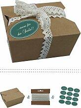 das-label | 10 x Geschenkboxen aus braunen Kraftkarton mit dunkelgruen-creme Aufkleber 10 x ...ETWAS FUER DIE SEELE!! + Häkelspitze | Naturboxen als Geschenkverpackung oder Transportbox für Kuchen | Cupcakes | Pralinen | Kekse und viel mehr