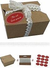 das-label | 10 x Geschenkboxen aus braunen Kraftkarton mit dunkelrot-creme Aufkleber 10 x MIT VIEL LIEBE GEMACHT!! + Häkelspitze | Naturboxen als Geschenkverpackung oder Transportbox für Kuchen | Cupcakes | Pralinen | Kekse und viel mehr
