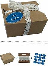 das-label | 10 x Geschenkboxen aus braunen Kraftkarton mit mittelblau-creme Aufkleber 10 x 100% LECKER + Häkelspitze | Naturboxen als Geschenkverpackung oder Transportbox für Kuchen | Cupcakes | Pralinen | Kekse und viel mehr