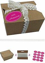 das-label | 10 x Geschenkboxen aus braunen Kraftkarton mit pink-creme Aufkleber 10 x 100% SELBSTGEMACHT + Häkelspitze | Naturboxen als Geschenkverpackung oder Transportbox für Kuchen | Cupcakes | Pralinen | Kekse und viel mehr