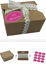 das-label | 10 x Geschenkboxen aus braunen Kraftkarton mit pink-creme Aufkleber 10 x 100% HOMEMADE + Häkelspitze | Naturboxen als Geschenkverpackung oder Transportbox für Kuchen | Cupcakes | Pralinen | Kekse und viel mehr