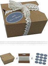 das-label | 10 x Geschenkboxen aus braunen Kraftkarton mit wuestenblau-creme Aufkleber 10 x 100% NATUR & HANDGEMACHT + Häkelspitze | Naturboxen als Geschenkverpackung oder Transportbox für Kuchen | Cupcakes | Pralinen | Kekse und viel mehr