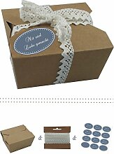 das-label | 10 x Geschenkboxen aus braunen Kraftkarton mit wuestenblau-creme Aufkleber 10 x MIT VIEL LIEBE GEMACHT!! + Häkelspitze | Naturboxen als Geschenkverpackung oder Transportbox für Kuchen | Cupcakes | Pralinen | Kekse und viel mehr