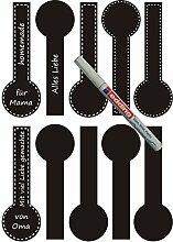 das-label Aufkleber | 10 Vintage Design No.7 schwarz matt | inkl. wasserfesten Edding | Valentinstag | Muttertag | Scrapbook | Geburtstag | Geschenke | zum bekleben von Autos | Tüten | Geschenkkartons | selbstklebende Markierungspunkte