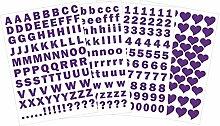 das-label Buchstaben groß und klein - Zahlen und Herzen als Minikollektion Design No.3 ca. 1 cm Höhe | lila Vinyl matt | selbstklebende gestanzte Ziffern und Herzen | zum Basteln Scrapbook | Sticker | Aufkleber | zum Beschriften