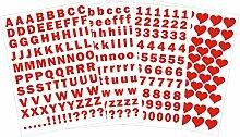 das-label Buchstaben groß und klein - Zahlen und Herzen als Minikollektion Design No.3 ca. 1 cm Höhe | rot Vinyl matt | selbstklebende gestanzte Ziffern und Herzen | zum Basteln Scrapbook | Sticker | Aufkleber | zum Beschriften