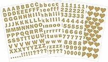 das-label Buchstaben groß und klein - Zahlen und Herzen als Minikollektion Design No.3 ca. 1 cm Höhe | gold Vinyl glanz| selbstklebende gestanzte Ziffern und Herzen | zum Basteln Scrapbook | Sticker | Aufkleber | zum Beschriften