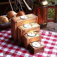 das Olivenholzbrett Teelichthalter 4 teilig