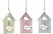 das Welcome Dekoration Vogelhaus aus Holz - Türschild Dekoschild