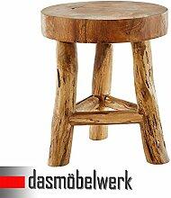dasmöbelwerk Baumstamm Teak Hocker massives Wurzelholz Sitzhocker Beistelltisch natur Tisch Holztisch Holzhocker Fußbank 3 Beine
