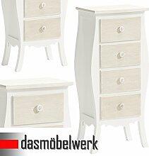 dasmöbelwerk Landhausmöbel Kleinmöbel mit 4 Schubladen Antikmöbel Ablage Tisch Anrichte weiss 05.015.01
