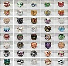 dasmöbelwerk Mosaikglas Windlicht Teelichthalter Teelicht Kerzenhalter bunt Glas Mosaik Deko Accessoires Kugel Geschenkidee Weihnachten 40 Motive und Farben (37)