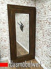 dasmöbelwerk XXL Wandspiegel Spiegel Holz Rahmen Landhaus Design Vintage Braun 1,96m