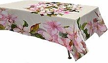 Datex Tischdecke weiß/rosa/grün 180 x 270 cm