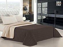 Datex Trade Quilt Bettdecke Doppelbett Tagesdecke, Mikrofaser, Braun/cremefarben, 260x 270cm
