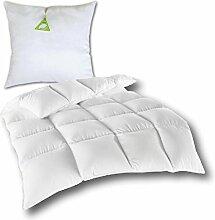 Daunen- Federdecke Bettdecke Kassettendecke gefüllt mit 50% Daunen und 50% Federn ÖKO TEX 135x200 cm, angenehm weicher Komfort (mit Federkissen 80x80 cm)