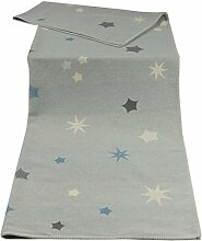 David Fussenegger 41859740 Sylt Baumwolldecke mit Zierstich, Sterne, circa 140 x 200 cm