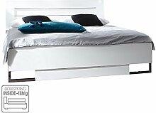 DAVOS Modernes Doppelbett, Weiß, 160 x 200 cm