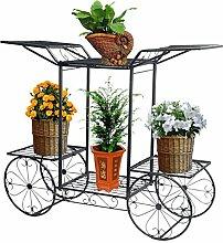 Dazon Eisen Blumentreppe Blumen Regale Pflanzenständer 67cm mit 6 Körbe Hocker Blumenhocker Regal (Schwarz)