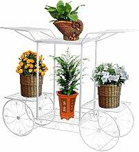 Dazon Eisen Blumentreppe Blumen Regale Pflanzenständer 67cm mit 6 Körbe Hocker Blumenhocker Regal (Weiß)