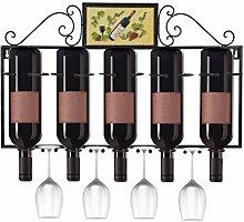 Dazone® Weinregal mit Glashalter für 5 Flaschen