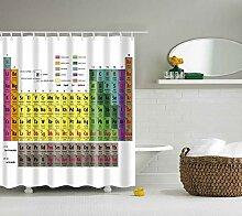 DBHUAV Duschvorhang aus Stoff, Periodensystem mit