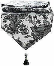 DBHUAV Luxus dekorative schwarz-weiß Tischläufer
