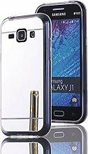 DBIT Galaxy J1 hülle, Schlank Handy-Gehäuse Hülle Spiegel TPU Case Schutzhülle Silikon Case Tasche Für Samsung Galaxy J1,Silber