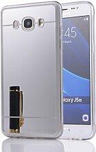 DBIT Galaxy J510 hülle, Schlank Handy-Gehäuse Hülle Spiegel TPU Case Schutzhülle Silikon Case Tasche Für Samsung Galaxy J5 (2016) J510,Silber