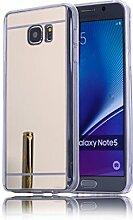 DBIT Galaxy Note 5 hülle, Schlank Handy-Gehäuse Hülle Spiegel TPU Case Schutzhülle Silikon Case Tasche Für Samsung Galaxy Note 5,Gold
