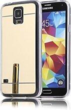 DBIT Galaxy S5 hülle, Schlank Handy-Gehäuse Hülle Spiegel TPU Case Schutzhülle Silikon Case Tasche Für Samsung Galaxy S5,Gold