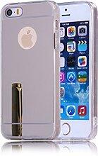 DBIT iPhone SE hülle, Schlank Handy-Gehäuse Hülle Spiegel TPU Case Schutzhülle Silikon Case Tasche Für Apple iPhone 5 / 5S / SE,Silber