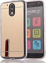 DBIT MOTO G4 Plus hülle, Schlank Handy-Gehäuse Hülle Spiegel TPU Case Schutzhülle Silikon Case Tasche Für MOTO G4 / G4 Plus,Gold