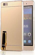 DBIT P8 Lite hülle, Schlank Handy-Gehäuse Hülle Spiegel TPU Case Schutzhülle Silikon Case Tasche Für Huawei P8 Lite,Gold
