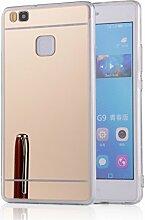 DBIT P9 Lite hülle, Schlank Handy-Gehäuse Hülle Spiegel TPU Case Schutzhülle Silikon Case Tasche Für Huawei P9 Lite,Gold