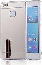 DBIT P9 Lite hülle, Schlank Handy-Gehäuse Hülle Spiegel TPU Case Schutzhülle Silikon Case Tasche Für Huawei P9 Lite,Silber