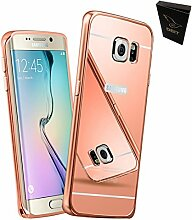 DBIT Qualitativ Hochwertige Alurahmen Metall Verchromte Spiegel Schutzhülle für Samsung Galaxy S6 Edge Plus Hülle Telefon Beutel + 1 Clear Screen Protector mit Dbit Staubstecker Kapazitiven Stylus Rose-Gold