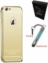 DBIT Qualitativ Hochwertige Alurahmen Metall Verchromte Spiegel Schutzhülle für iPhone 6 Plus iPhone 6s Plus Hülle Telefon Beutel Gold
