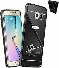 DBIT Qualitativ Hochwertige Alurahmen Metall Verchromte Spiegel Schutzhülle für Samsung Galaxy S6 Edge Hülle Telefon Beutel + 1 Clear Screen Protector mit Dbit Staubstecker Kapazitiven Stylus Grau