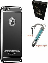 DBIT Qualitativ Hochwertige Alurahmen Metall Verchromte Spiegel Schutzhülle für iPhone 6 Plus iPhone 6s Plus Hülle Telefon Beutel Grau
