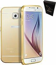 DBIT Qualitativ Hochwertige Alurahmen Metall Verchromte Spiegel Schutzhülle für Samsung Galaxy S6 Hülle Telefon Beutel + 1 Clear Screen Protector mit Dbit Staubstecker Kapazitiven Stylus Gold