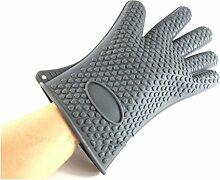 Dbtxwd Verdickte Rutschfeste Silikon Handschuh Baking Werkzeuge Wärme Isolierung Backofen Handschuhe 5 Finger (2-er Set) , gray