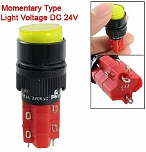 DC 24V gelb Push Button Momentary Schalter w LED