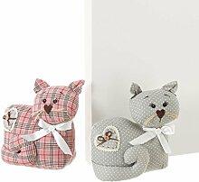 DCasa–Türstopper Katze von Stoff/sand Romantische für Wohnzimmer Bretagne Rosa