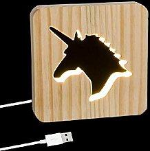 Dcasa LED Holz Einhorn Lufterfrischer Ringe Lampe