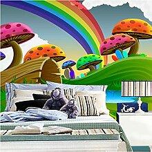 Dcivey Fototapete 3D Tapete Cartoon Cute Mushroom